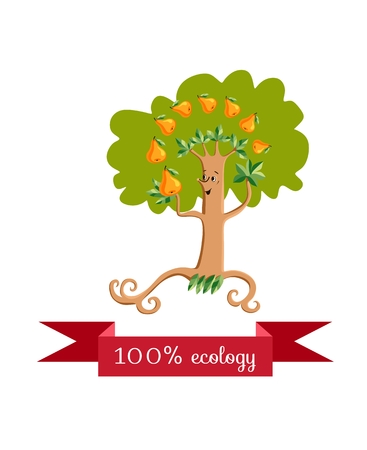 Unusual ecology icon. Merry fabulous pear tree, juggling fruit on white background. Beautiful packaging for juice, jam, marmalade. Vector illustration. Illustration