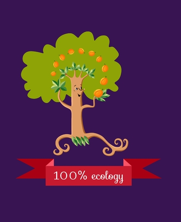 apricot tree: Unusual ecology icon. Merry fabulous apricot tree, juggling fruit on dark lilac background. Beautiful packaging for juice, jam, marmalade. Vector illustration. Illustration