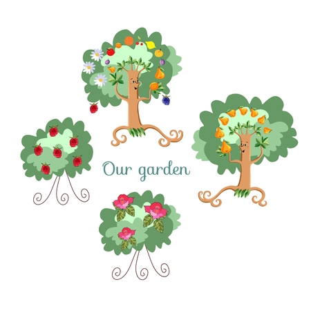 shrub: Unusual ecology icon. Merry fabulous fruit trees, juggling fruit, raspberry bush and shrub roses on white background. Beautiful packaging for juice, jam, marmalade. Vector illustration. Garden.