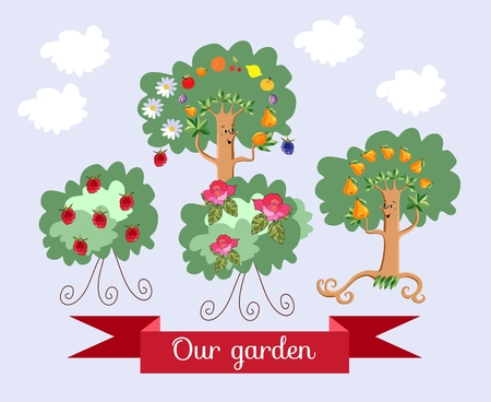 shrub: Garden. Unusual ecology icon. Merry fabulous fruit trees, juggling fruit, raspberry bush and shrub roses  with beautiful banner. Wrapping design for juice, jam, marmalade. Vector illustration.