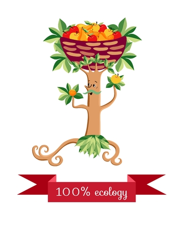 Tree in the form of a stylized mustachioed man with a basket of fruit on her head isolated on white background. Vector illustration. Beautiful packaging design for multifruit juice, jam and marmalade.