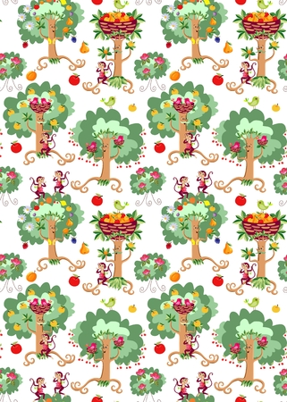 apricot tree: Seamless vector pattern with cute cartoon dancing trees, beautiful birds, rosebushes and cheerful monkeys on white background. Print for fabric.