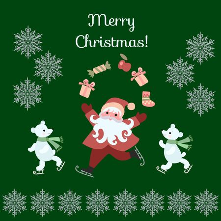 pere noel: Greeting Card Merry Christmas! Cute cartoon Santa Claus juggling gifts, and polar bears on skates. Vector illustration with silver snowflakes on dark green background. Illustration