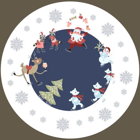 Round greeting card or decorative plate Merry Christmas - 2. Cute cartoon Santa Claus, reindeer with a glass of champagne, polar bears, raccoons and snowman on skates. Christmas tree and snowflakes.