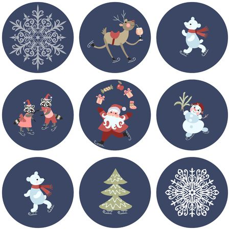 pere noel: Set of labels with cute cartoon Santa Claus, polar bears, little raccoons, reindeer with a glass of champagne, snowman, snowflakes and christmas tree. Illustration