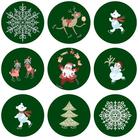 pere noel: Collection of stickers with cute cartoon Santa Claus, polar bears, little raccoons, reindeer with a glass of champagne, snowman, snowflakes and christmas tree.