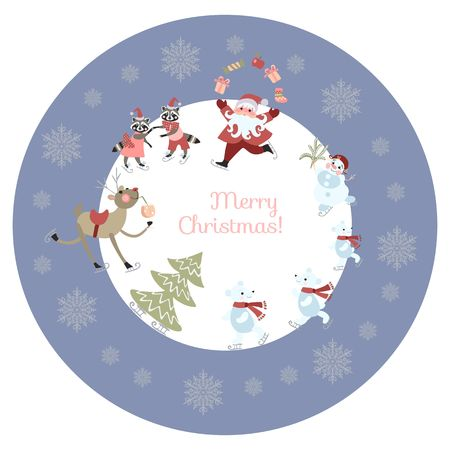 pere noel: Round greeting card or decorative plate Merry Christmas! Cute cartoon Santa Claus, reindeer with a glass of champagne, polar bears, raccoons and snowman on skates. Christmas tree and snowflakes.