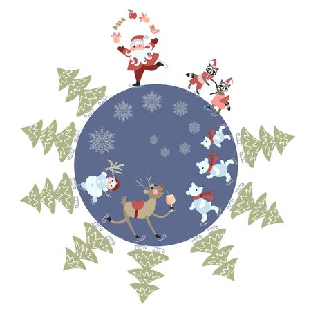 grandfather frost: Greeting card Merry Christmas! Cute cartoon Santa Claus juggling gifts, reindeer, snowman, polar bears, little raccoons and christmas trees on skates. Beautiful vector illustration. Round composition.