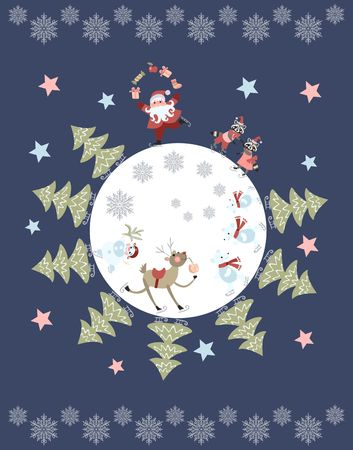 pere noel: Cute cartoon Santa Claus juggling gifts, reindeer, snowman, polar bears, little raccoons and christmas trees on skates. Vector illustration. Round composition. Greeting card with snowflakes and stars.