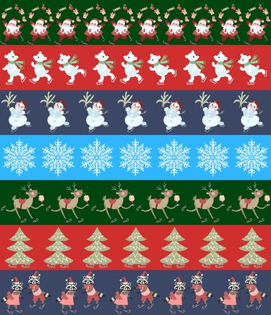 pere noel: Vector endless striped christmas pattern with cute cartoon Santa Claus, polar bears, snowmen, snowflakes, reindeer, christmas trees and raccoons on skates. Festive wrapping design.
