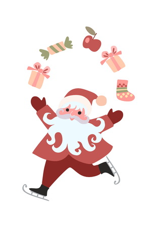 Cute cartoon cheerful Santa Claus juggling gifts isolated on white background. Vector illustration. Greeting Card Merry Christmas!