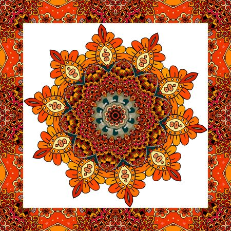 neckscarf: Greeting card or wedding invitation with flower - mandala in indian style. Lovely tablecloth, shawl, beautiful blanket, festive pillowcase, carpet. Print for fabric, wrapping design. Vector image.