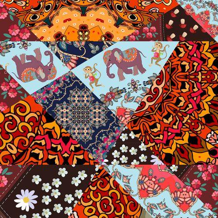 Feestelijk patchworkpatroon van heldere plekken met schattige dieren, bloem - mandala en abstracte maaswerk. Vector illustratie. Afdrukken voor stof, papier, behang, inpakontwerp.