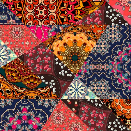 Festive patchwork pattern in indian style with flower - mandala. Bright vector illustration. Hippie design. Blanket, wrapping, print for fabric. Иллюстрация