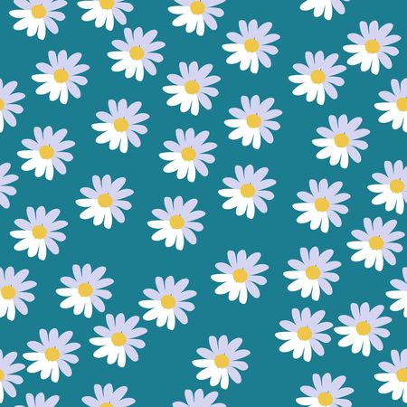 Cute seamless floral pattern with daisies on sky blue background. Vector illustration. Print for fabric, paper, wallpaper, wrapping design.
