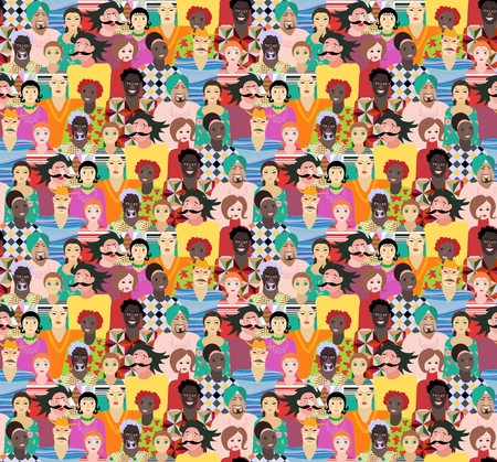 Seamless pattern with men and women of different ages, races and nationalities.Can be used for poster, card, invitation, placard, brochure, flyer, packaging, websites, paper, wallpaper, fabric