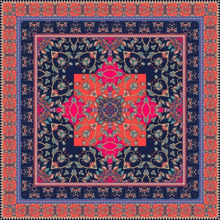 Beautiful oriental scarf with ornamental border. Lovely tablecloth. Indian carpet. Bandana print. Pillowcase. Print for fabric. Ceramic tile.