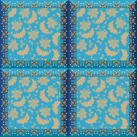 Ceramic tiles with enchanted vintage floral ornament in blue and golden tones.