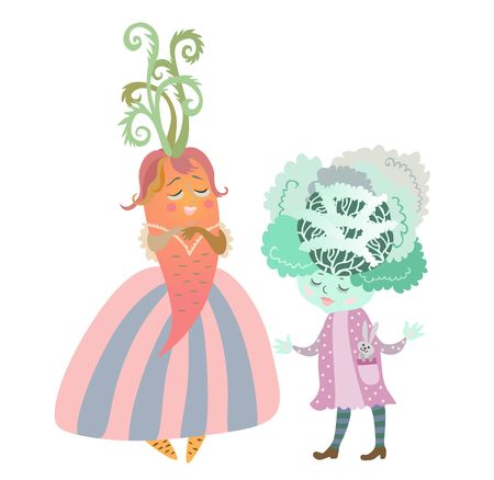 personages: Cute cartoon cabbage - girl with bunny - toy and lady - carrot in beautiful dress. Charming personages, illustration for childrens books. Vector image. Illustration