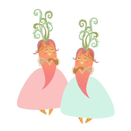 personages: Cute cartoon ladies - carrot in beautiful dress. Charming personages, illustration for childrens books. Vector image.