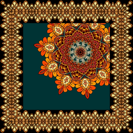 neckscarf: Beautiful carpet or tablecloth with flower mandala and ornamental frame in indian style. Unusual shawl, scarf, square rug.