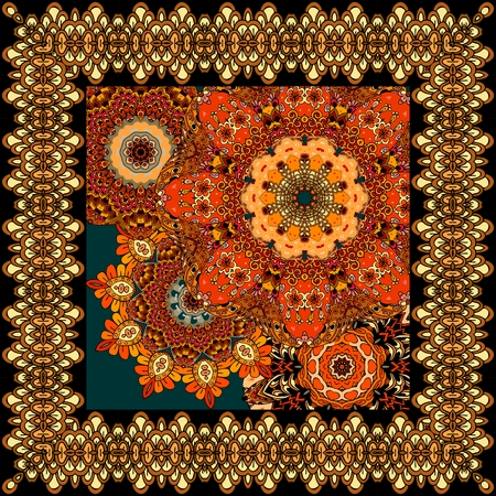 neckscarf: Beautiful carpet or tablecloth with flower mandala and ornamental frame in indian style. Unique design. Shawl, scarf, napkin.
