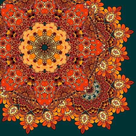red rug: Quarter of headscarf or tablecloth. Bright ornamental pattern with flower mandala in indian style. Bandana print or carpet. Greeting card. Wedding invitation.