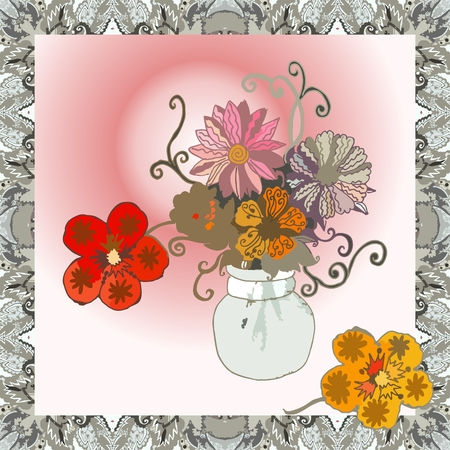 Beautiful bandana print with charming bouquet from nasturtiums and asters. Vector illustration.