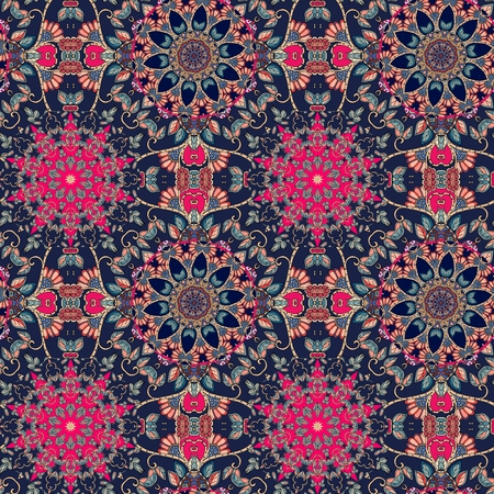 Vintage seamless pattern with decorative flowers - mandalas. Wallpaper, textile, fabric, texture, wrapping paper, card, invitation.