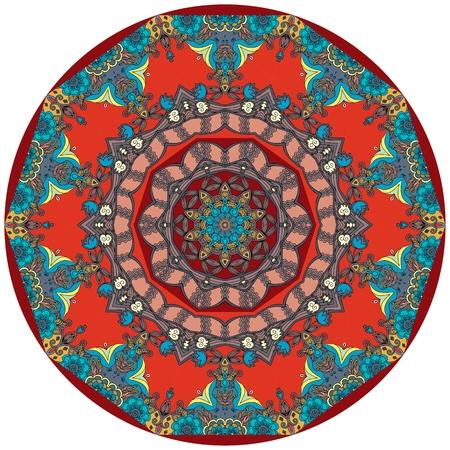 oriental rug: Circle ethnic rug with flower - mandala.  Decorative uzbek plate - 1. Stock Photo