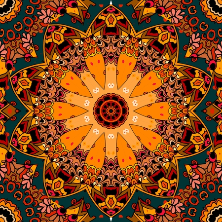 north american: Seamless square pattern in style of North American Indians. Stylized pumkin. Flower- mandala. Lovely tablecloth. Illustration