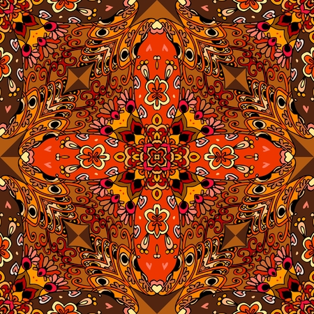 red rug: Bright square rug in mexican style. Seamless vector pattern.