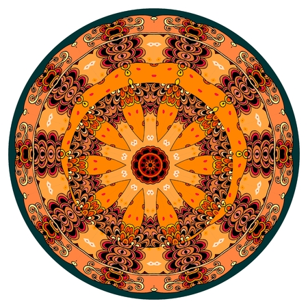 Decorative plate with beautiful mandala in mexican style.
