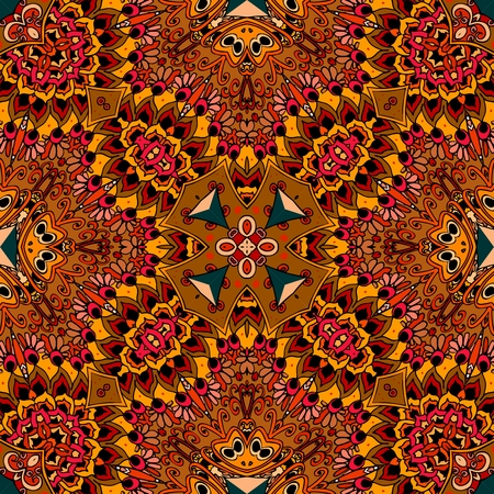 red rug: North American Indian seamless vector pattern. Beautiful ornament in warm tones. Ethnic print for fabric. Festive tablecloth. Pillowcase, rug, scarf, blanket.