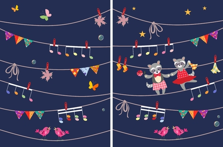 raccoons: Greeting card with cute dancing raccoons, butterflies, garland, musical notes, birds, maple leaves. Design elements. Vector image. Wrapping, packaging, poster. Book illustration. Illustration