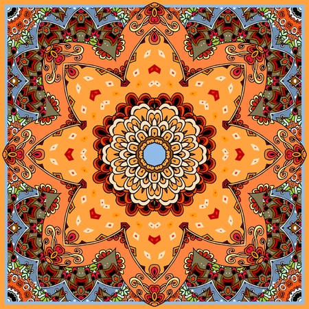 Beautiful ceramic tile with flower - mandala. Moroccan, portuguese, arabic, indian motives. Blanket, cushion, bandana, carpet, tablecloth, wrapping design. Vector illustration.