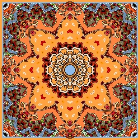 Beautiful ceramic tile with flower - mandala. Moroccan, portuguese, arabic, indian motives. Blanket, cushion, bandana, carpet, tablecloth, wrapping design. Vector illustration.