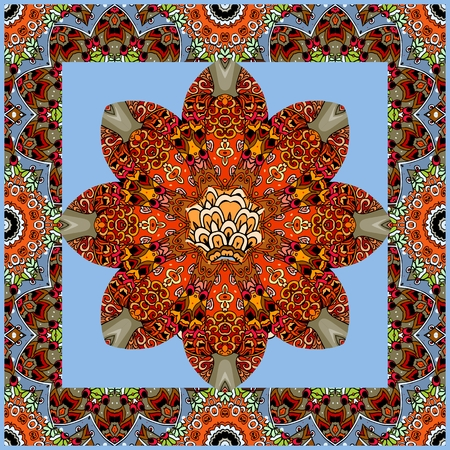 Beautiful handkerchief with red flower mandala on blue background and ornamental frame. Vector illustration. Square rug, wrapping design. Illustration