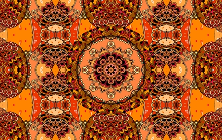 Beautiful seamless pattern on hot tones with flower mandala and cute ornament. Vector illustration. Fashionable print for fabric.