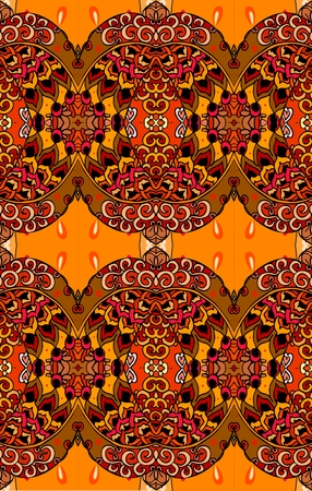 red rug: Seamless ethnic pattern on hot tones. Vector illustration. Print for fabric, paper, wallpaper, wrapping design. Illustration