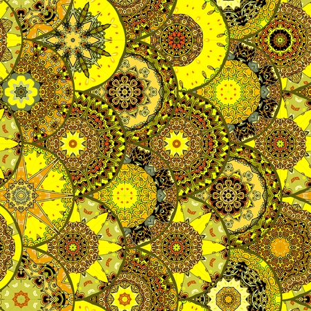 escamas de peces: Yellow seamless pattern with fish scales elements. Print for fabric. Vector image.