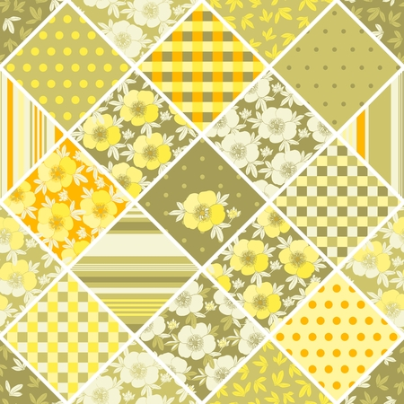 Seamless patchwork pattern with flowers. Illustration