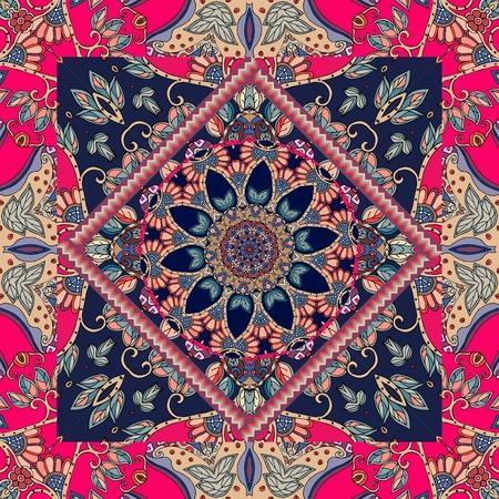 두건 인쇄. 민족 패턴입니다. 카펫, 식탁보, 포장 디자인. 스톡 콘텐츠 - 72238053
