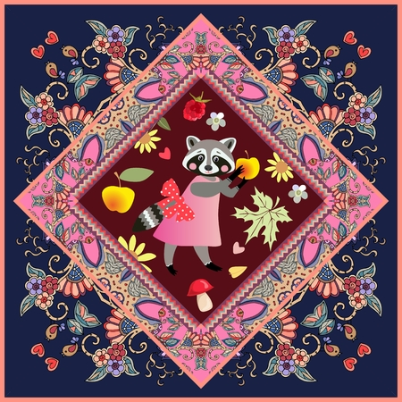 Ceramic tile with cute cartoon animal on beautiful ornamental frame for children. Raccoon - girl on pink dress with bow and yellow apple.