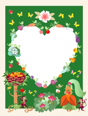 Greeting card, unusual frame or unique wedding invitation with cute cartoon characters. Apple tree, princess Carrot, monkeys, birds, butterflies, vegetables, fruits, flowers.  Space for text. Vector.