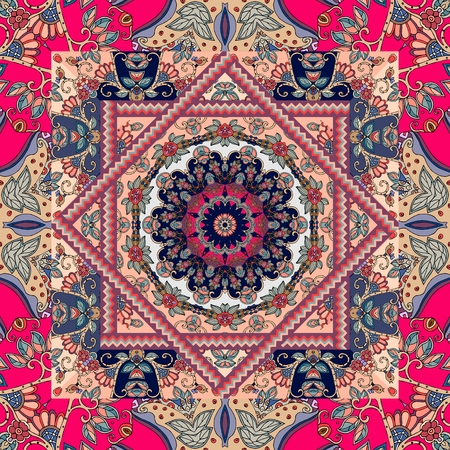 Unique bandana print. Lovely tablecloth with flower - mandala and bright ornament. Square rug, kerchief, cushion. Seamless patchwork pattern in russian style.