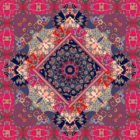 귀여운 카펫. 포장 디자인. 식탁보. 베개 케이스. 담요. 러시아어 패치 워크 스타일.