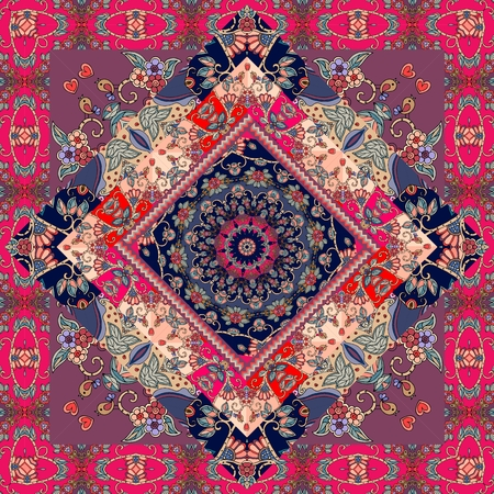 Cute carpet. Packaging design. Tablecloth. Pillowcase. Blanket. Russian patchwork style. Banque d'images