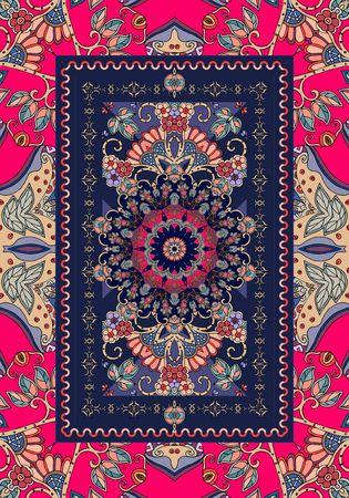 Festive persian carpet with flower mandala and ornamental frame. Vector illustration. Beautiful ethnic pattern.