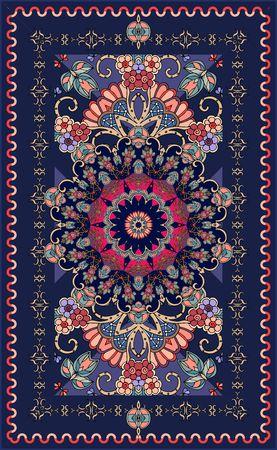 아름다운 장미와 꽃 패턴으로 장식용 진한 파란색 깔개. 인도, 페르시아, 터키, 다마스커스 동기. 여러 가지 빛깔의 벡터 일러스트 레이 션.